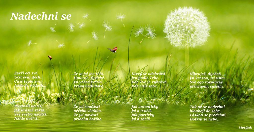 Motivační plakát Nadechni se - umělecká báseň od Motýlek - Nuataa Sonáya