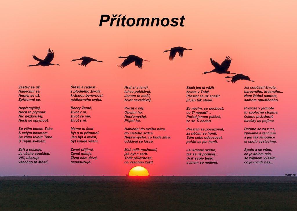 Motivační plakát Přítomnost - umělecká báseň od Motýlek - Nuataa Sonáya