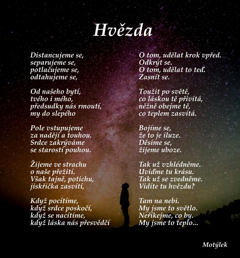 Motivační plakát Hvězda - umělecká báseň od Motýlek - Nuataa Sonáya