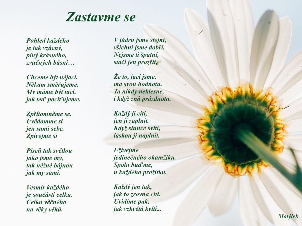 Motivační plakát Zastavme se - umělecká báseň od Motýlek - Nuataa Sonáya