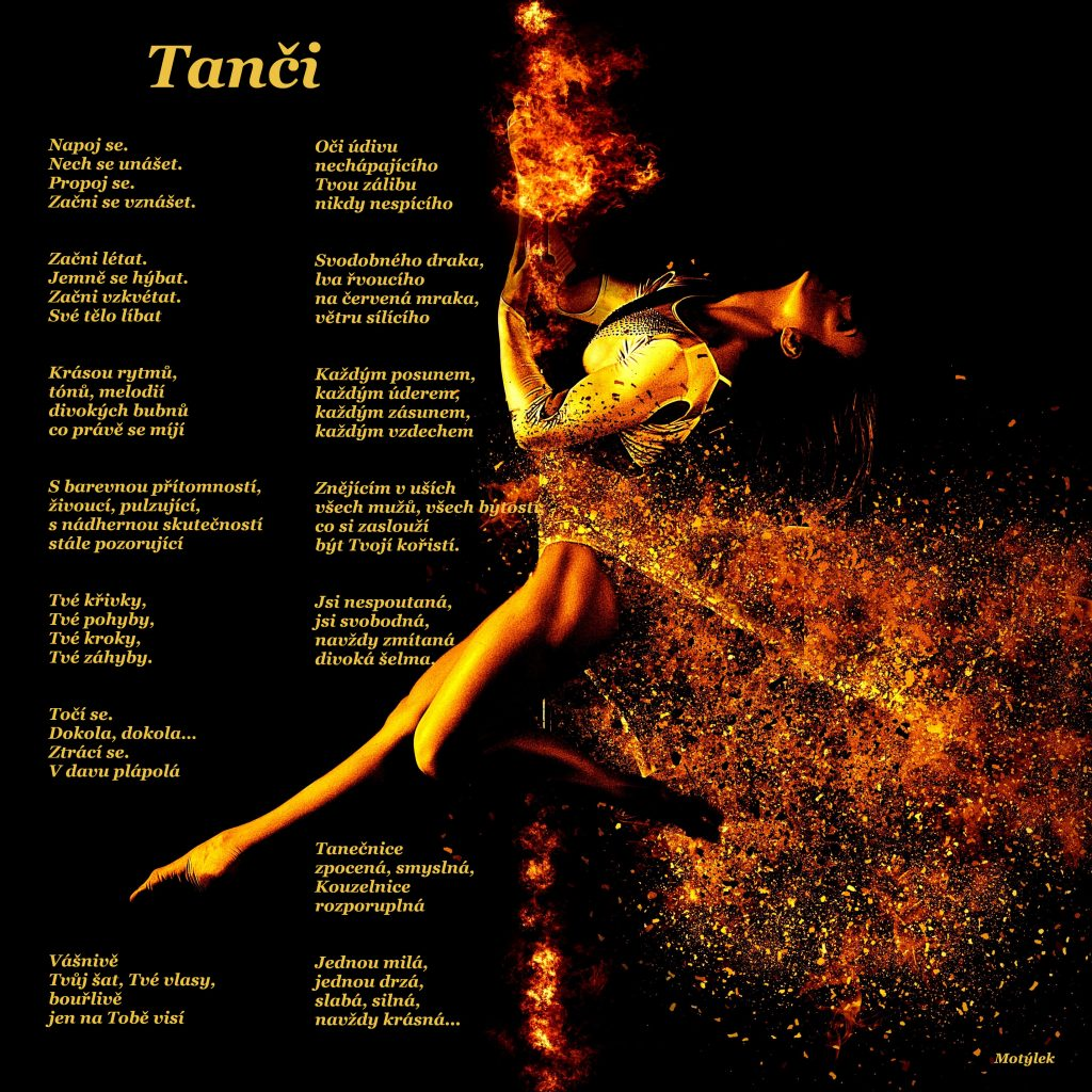 Motivační plakát Tanči - umělecká báseň od Motýlek - Nuataa Sonáya