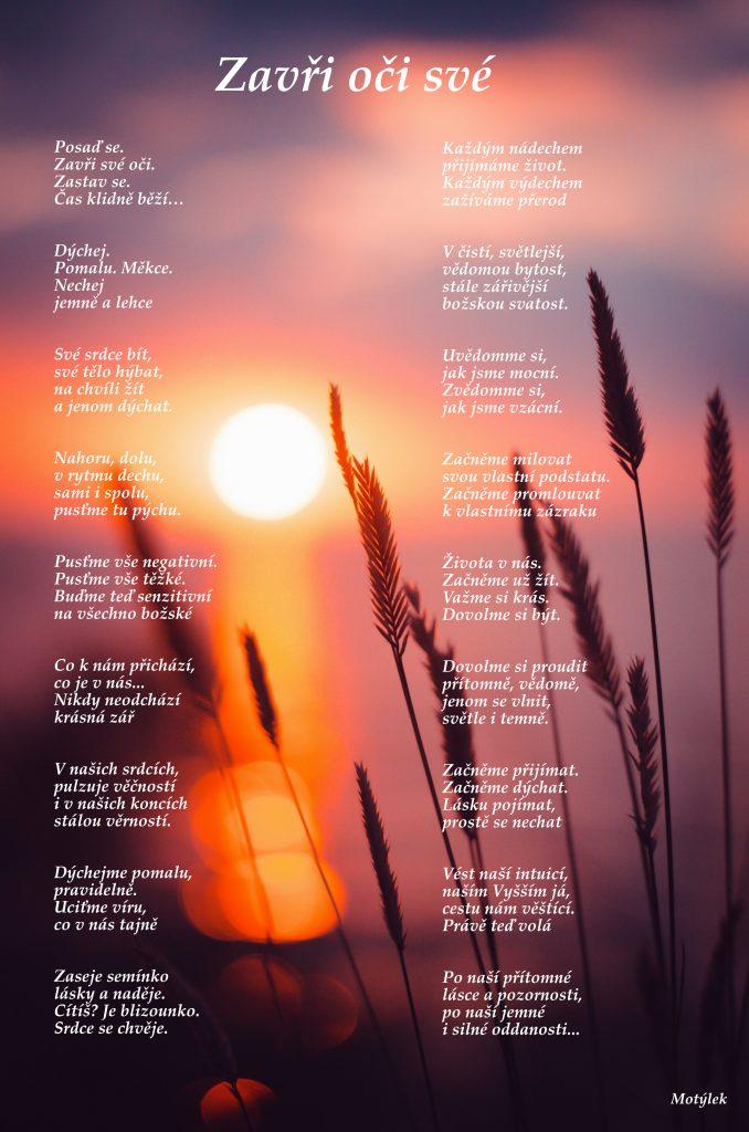 Motivační plakát Zavři oči své - umělecká báseň od Motýlek - Nuataa Sonáya