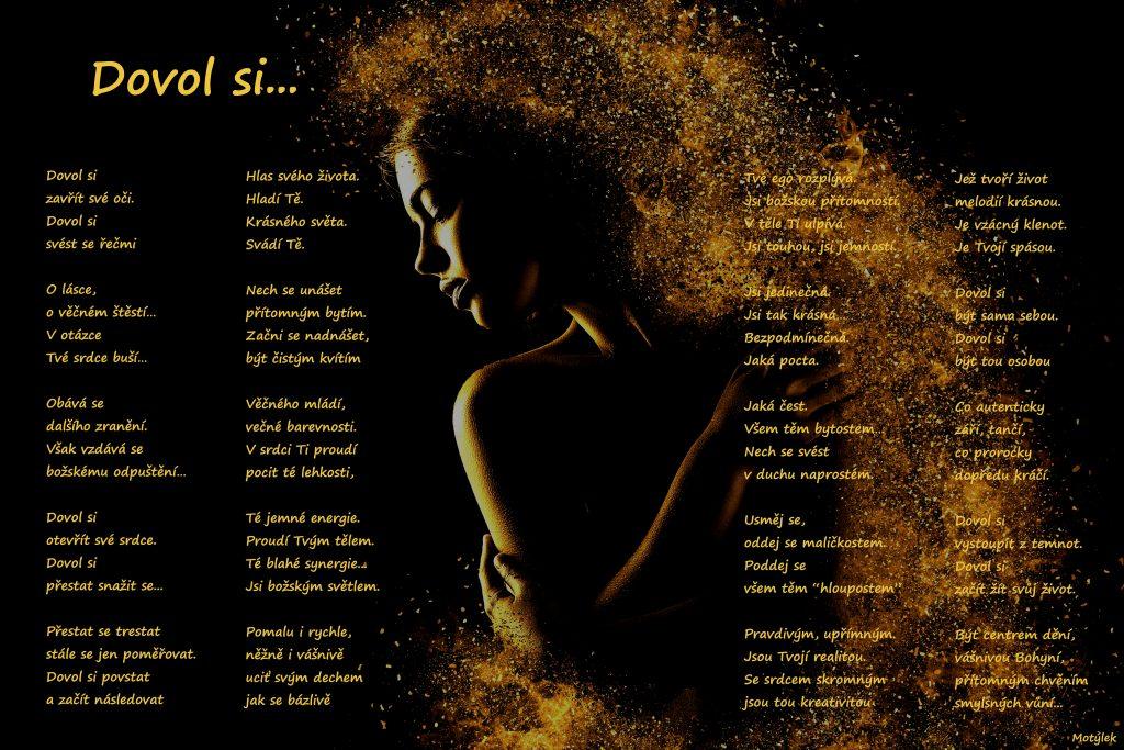 Motivační plakát Dovol si - umělecká báseň od Motýlek - Nuataa Sonáya