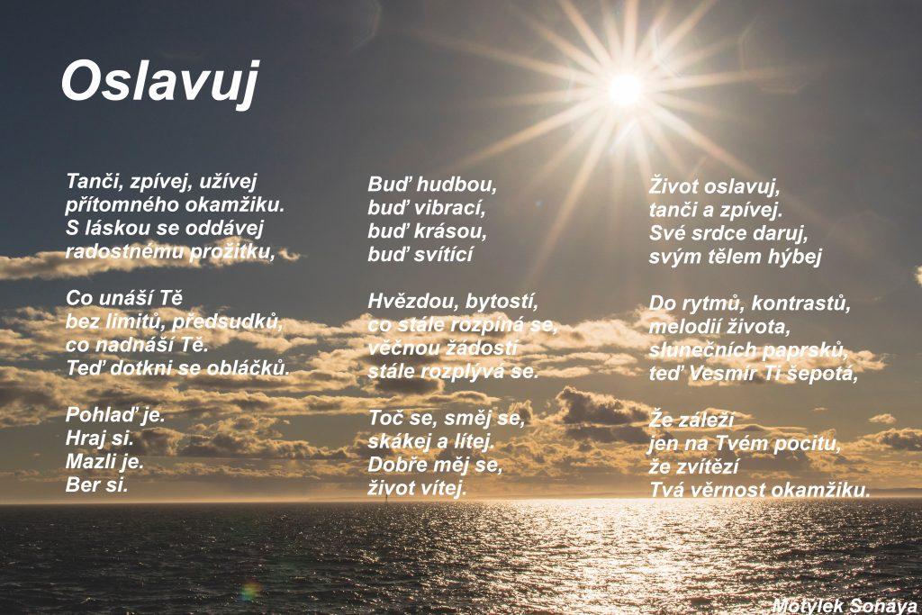Motivační plakát Oslavuj - umělecká báseň od Motýlek - Nuataa Sonáya