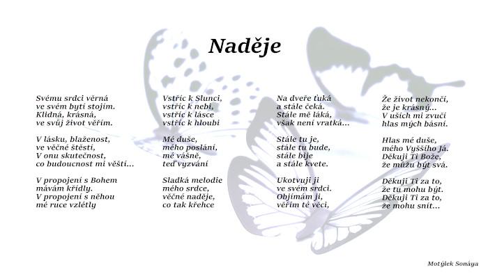 Motivační plakát Naděje - umělecká báseň od Motýlek - Nuataa Sonáya