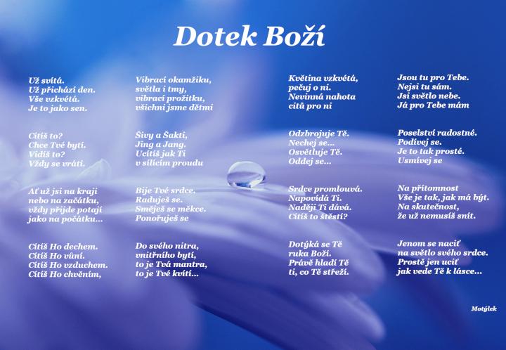 Motivační plakát Dotek boží - umělecká báseň od Motýlek - Nuataa Sonáya